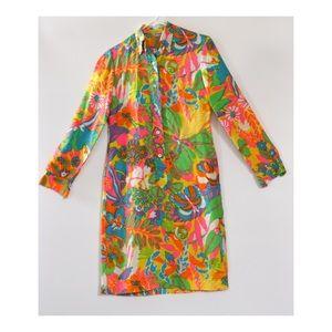 60s Ship 'n Shore Colorful Long Sleeve Tunic Dress